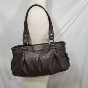 Chaps Chocolate Brown Leather Bag